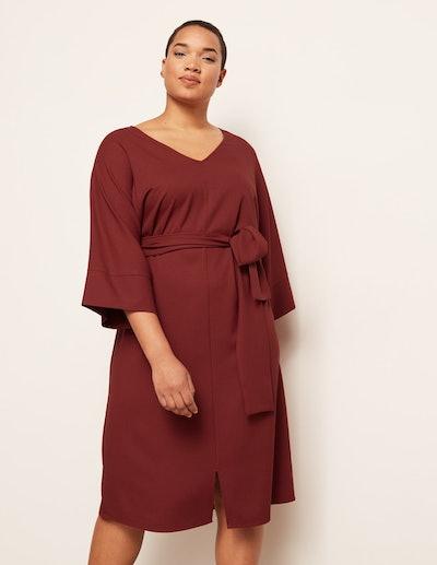 Danielle Vanier V-Neck Belted Crepe Dress