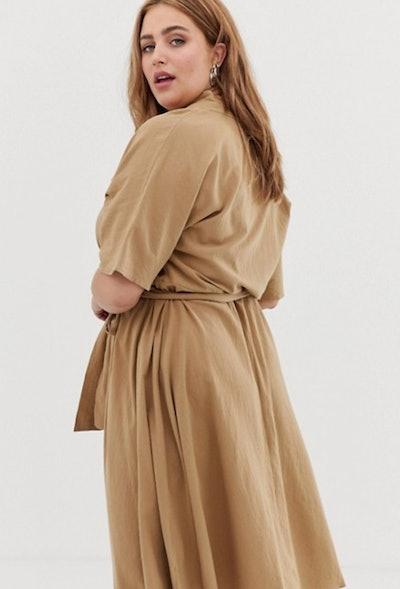 Glamorous curve midi dress with belt tie and kimono sleeves