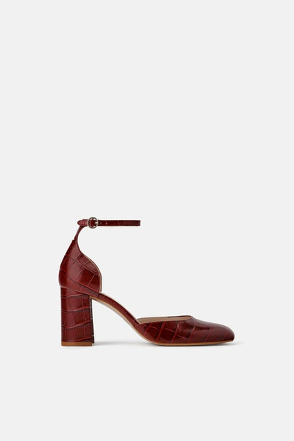 Leather Animal Embossed Heeled Shoes