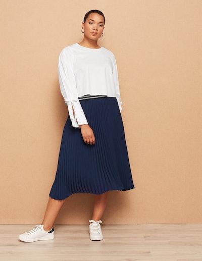 Danielle Vanier Asymmetric Hem Plissé Skirt