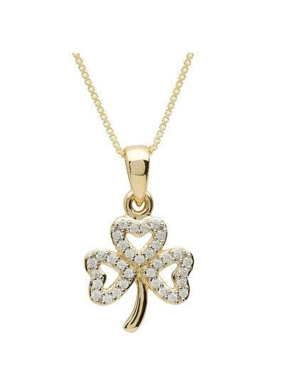 10 K Shamrock Stone Necklace