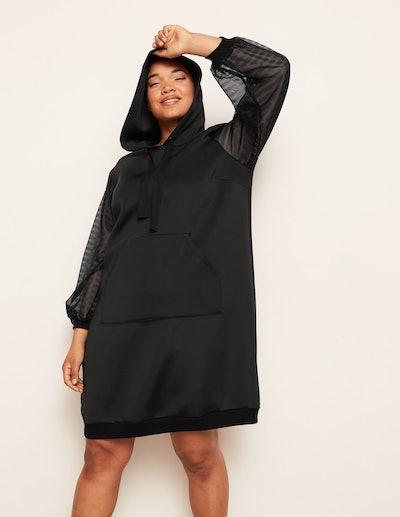 Danielle Vanier Hooded Scuba Sheer Sleeve Dress