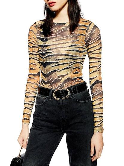 Tiger Print Bodysuit