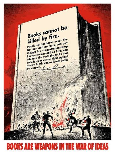 Fdr Quote On Book Burning Art Print