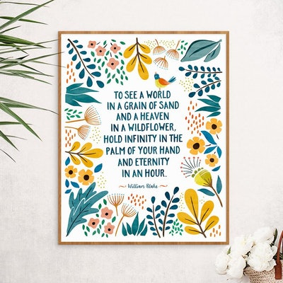 Poem print, William Blake, Zen decor, Bohemian decor, Boho wall art, Whimsical, Bookish, Literary gift, Wildflowers poster, Nature art print
