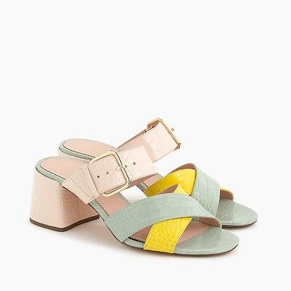 Penny Slide Sandals In Colorblock Croc-Embossed Leather