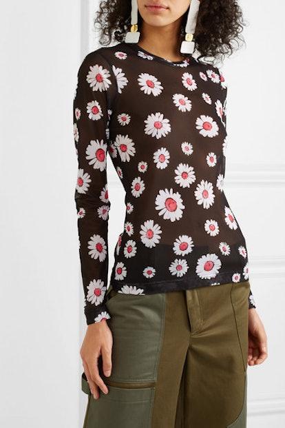 Freddie Floral-Print Mesh Top
