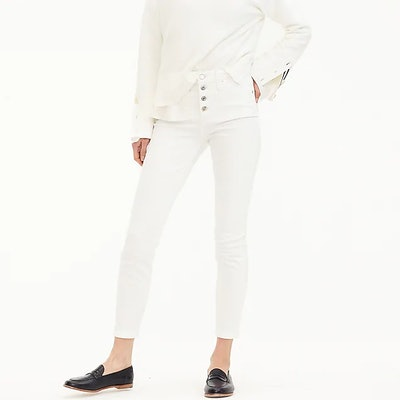 """9"""" High-Rise Toothpick Jean In White With Button Fly"""