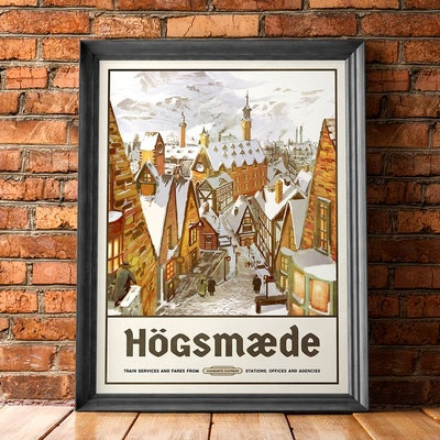 Hogsmeade Travel Poster - Vintage Retro Style - Inspired by Harry Potter