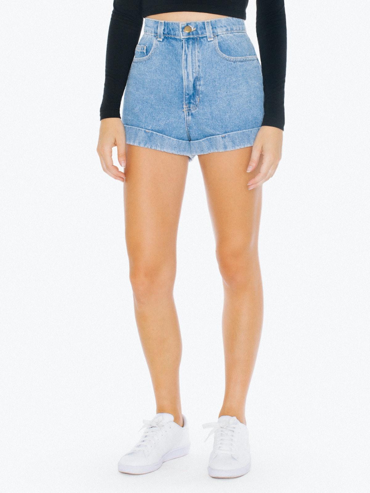 "Denim High-Waist Cuff Shorts in ""Light"""