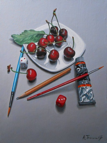 'Still Life With Cherries, Paintbrushes, and a Pencil' Painting by Alexander Titorenkov