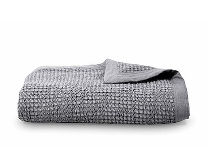 Grey Cotton Waffle Weave Coverlet