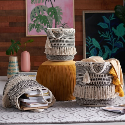 Hand Woven Macrame 3 Piece Basket Set In Natural And Black