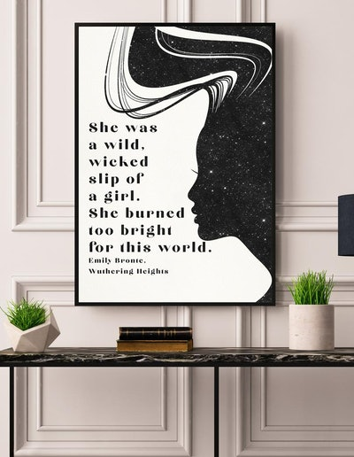 Literary Art Print, Emily Bronte, Wuthering Heights, Literary Quote Poster, Gift for Reader, Bookish Gift, Typography Poster