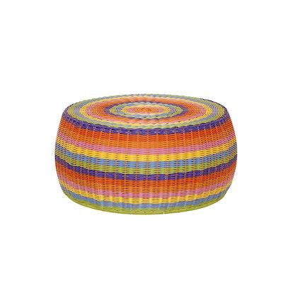 Colorful Wicker Ottoman Storage Basket