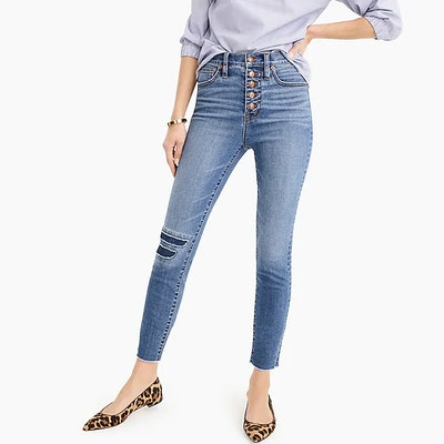 """10"""" Higher-Rise Toothpick Jean In Medium Indigo Wash With Rip And Repair"""