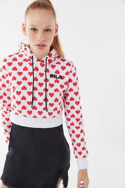 FILA X Disney Villains UO Exclusive Queen Of Hearts Cropped Hoodie Sweatshirt