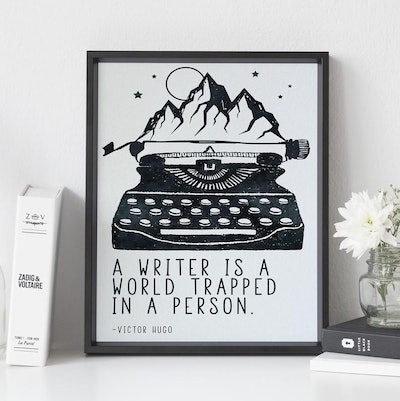Writer is a World Trapped in a Person, Literary Art Print, Victor Hugo, Writer Quote, Literary Quote, Gift for Writers, Writing Art, Bookish