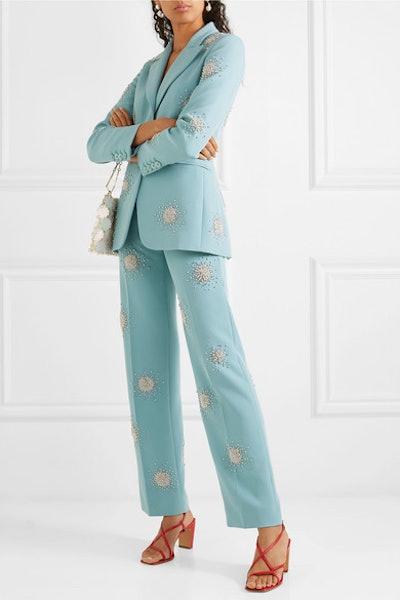 Marcel Crystal-Embellished Cady Straight-Leg Pants & Blazer
