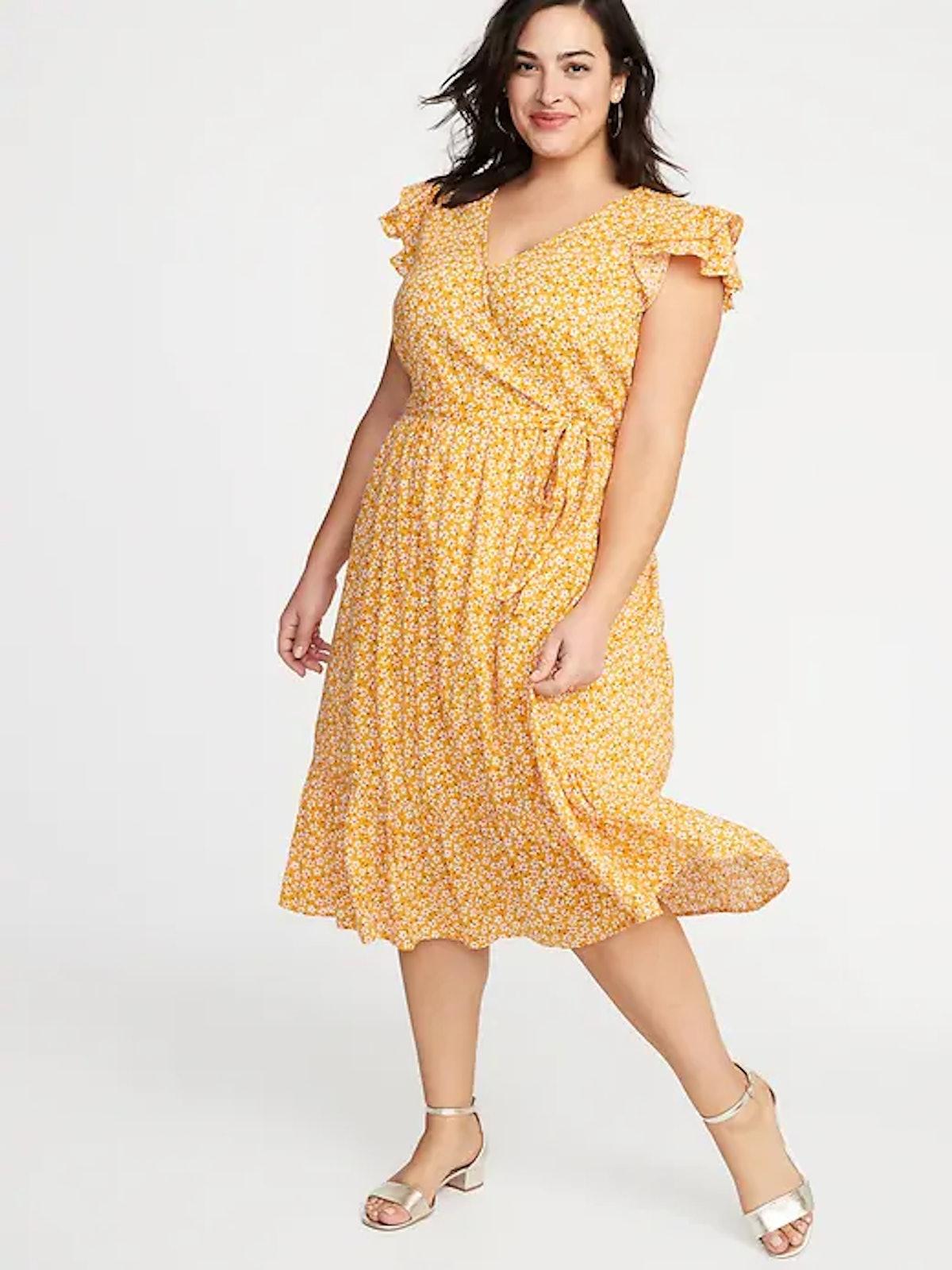 Tie-Belt Wrap-Front Plus-Size Maxi Dress