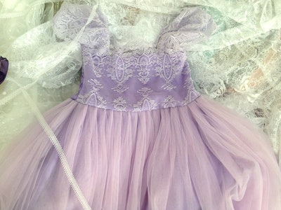 French Lace and Silk Tulle Dress