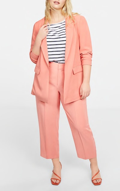 Structured Suit Blazer & Elastic-Waist Trousers