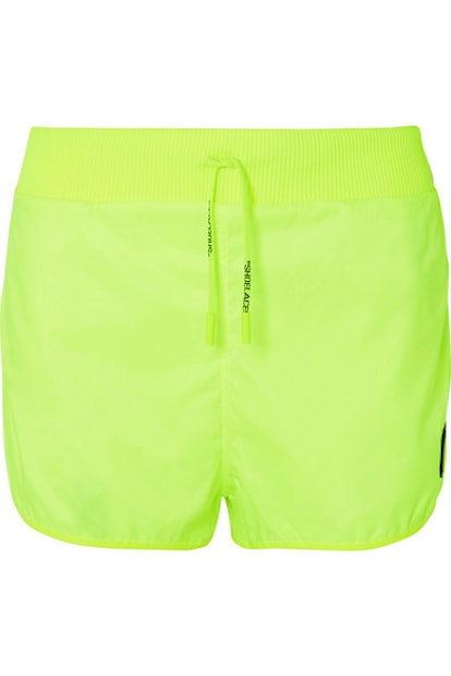 Rubber-Appliqued Neon Shell Shorts
