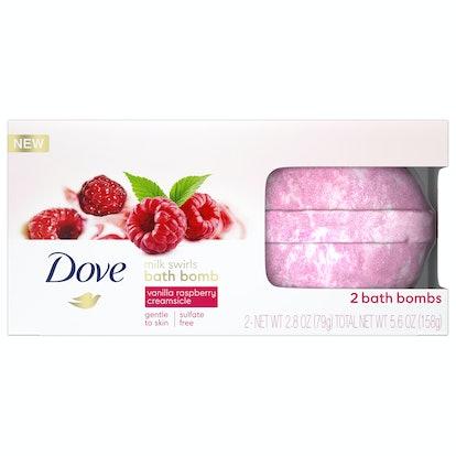 Dove Milk Swirls Bath Bombs Vanilla Raspberry Creamsicle