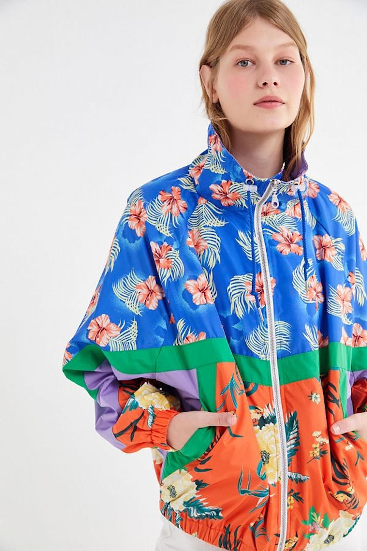 UO Destiny Floral Colorblock Windbreaker Jacket