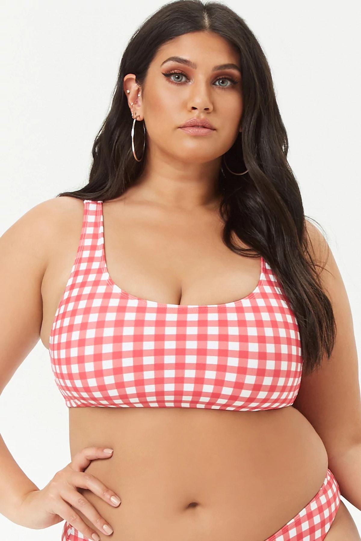 Plus Size Gingham Bikini Top