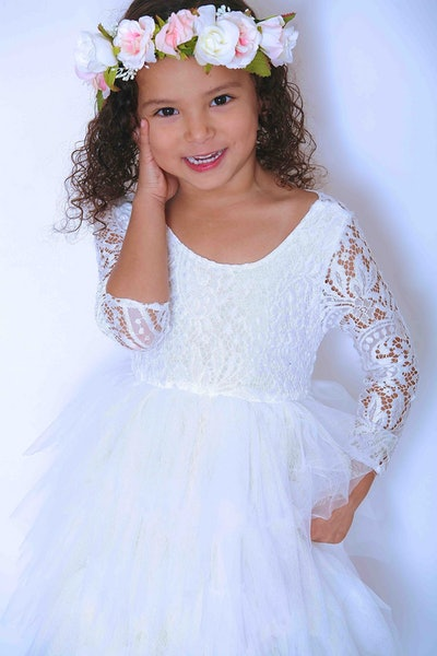 White Lace Flower Girl Dress