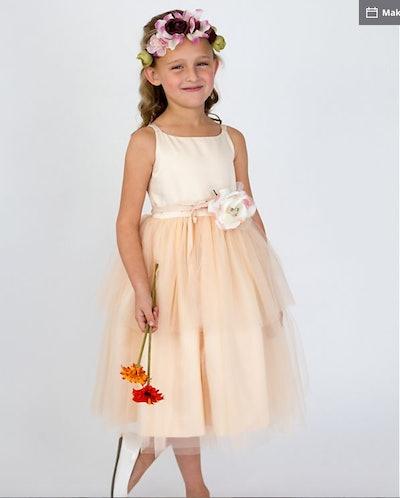 As-Is Spaghetti-Strap Tulle Flower Girl Dress
