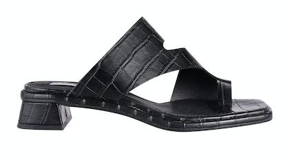 NOAH Vegan Black Crocodile Low Toe Loop Sandals