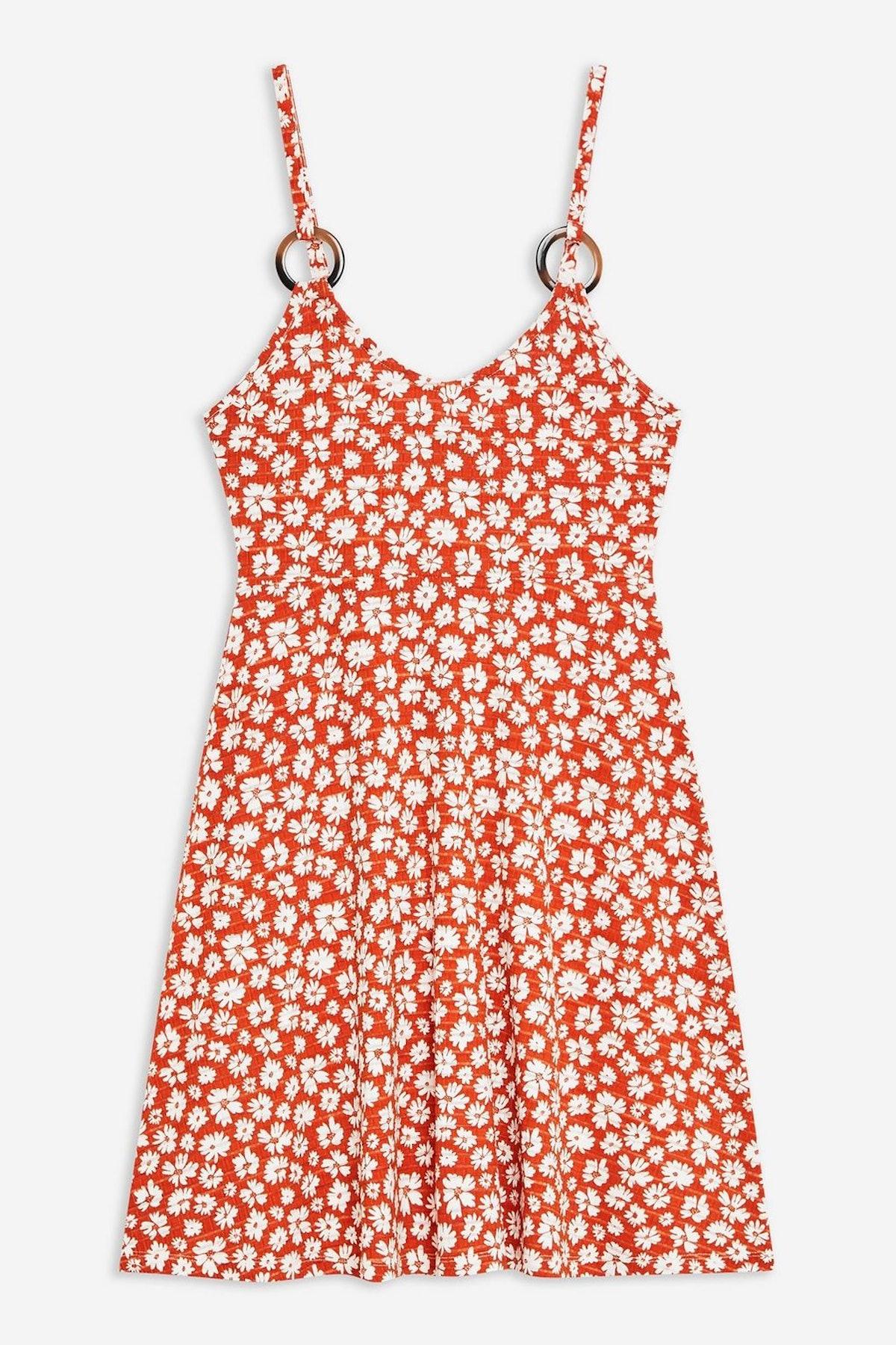 Printed Horn Ring Flippy Dress