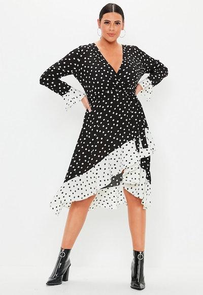 Plus Size Black Polka Dot Ruffle Wrap Dress