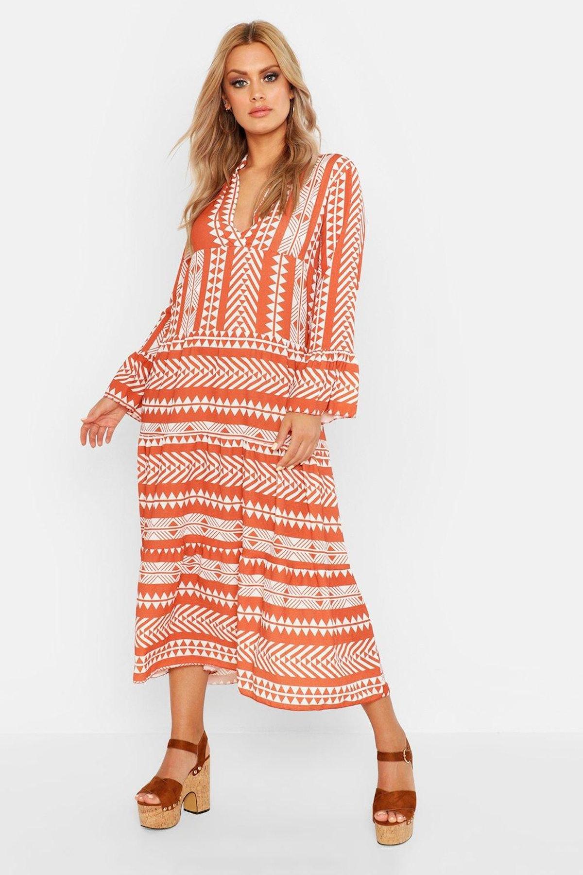 Plus Aztec Smock Maxi Dress
