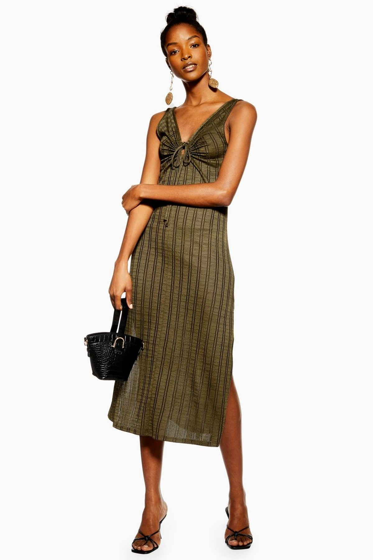 Khaki Keyhole Stripe Midi Dress