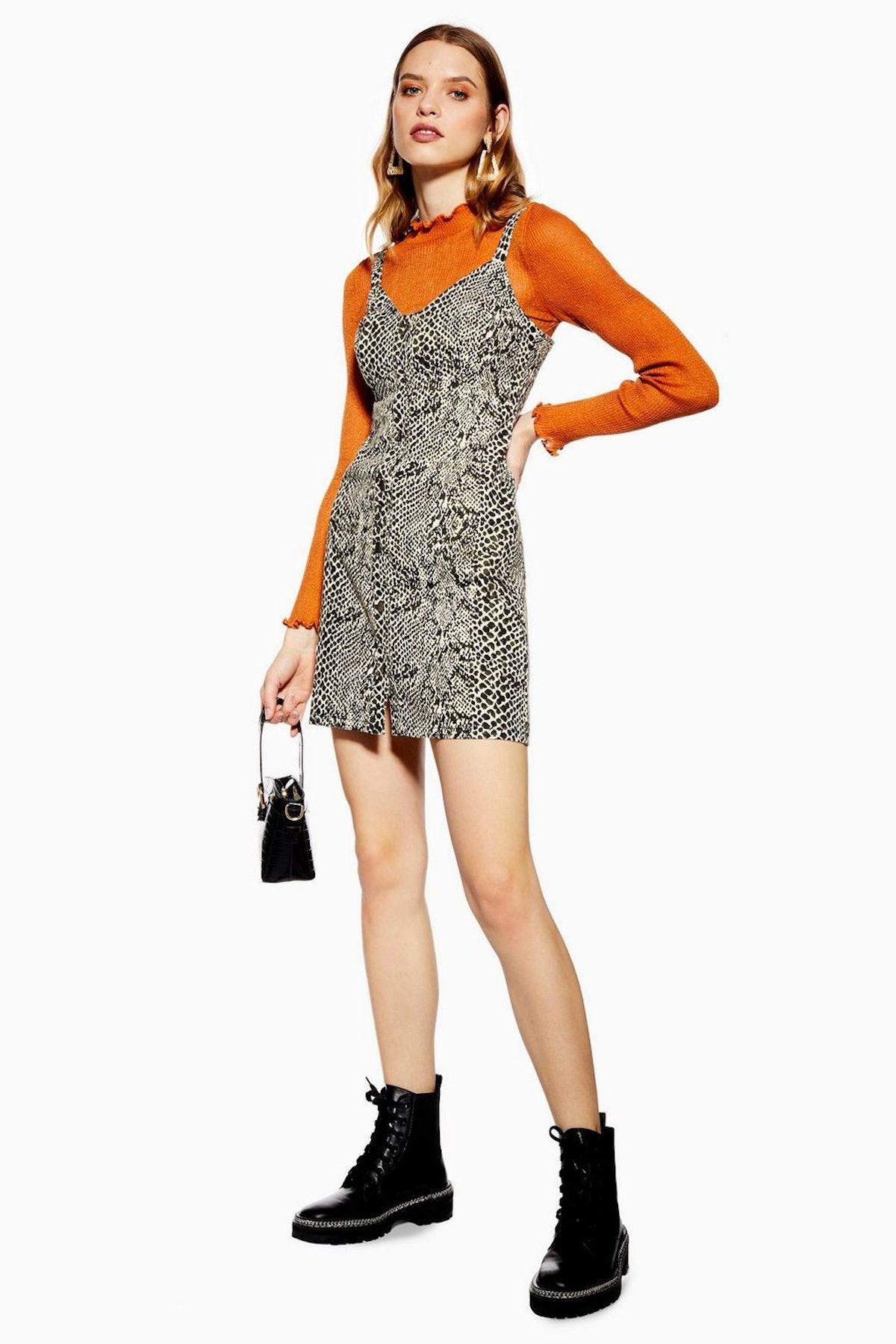 Snake Print Denim Bodycon Dress