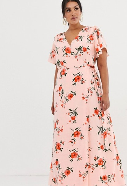 Fashion Union Plus Maxi Wrap Dress in Floral
