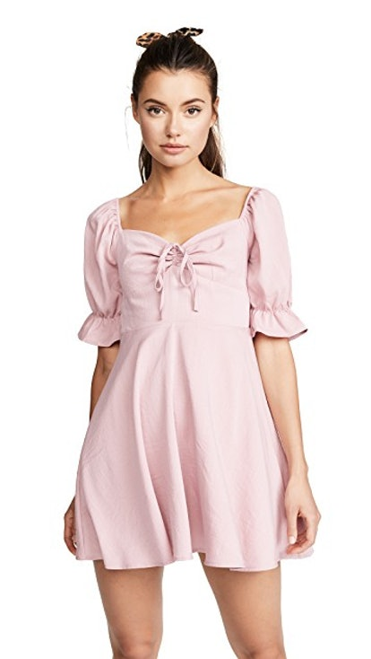 re:named Puff Sleeve Ruched Dress