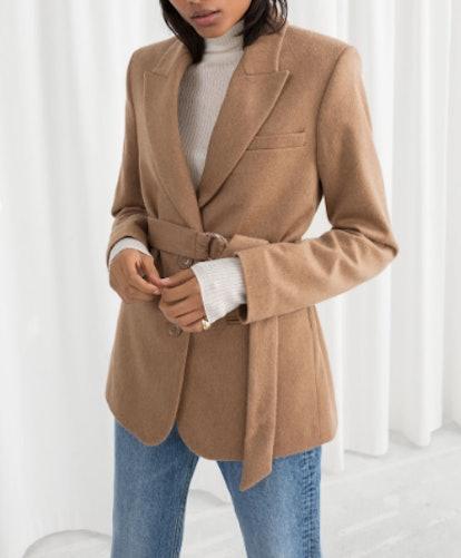 Belted Wool Blend Blazer