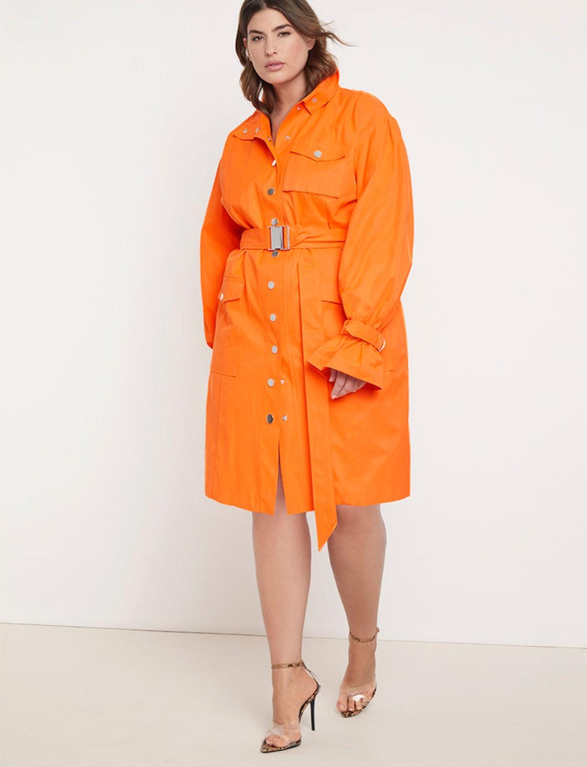 Priscilla Ono x ELOQUII Belted Cargo Dress in Neon Orange