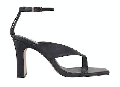 REID Vegan Black Strappy Sandals
