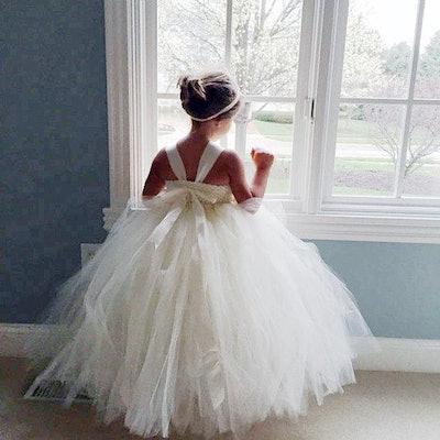 White, Ivory Shabby Chic Rose Flower Girl Dress