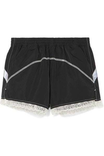 Lace-Trimmed Shell Shorts