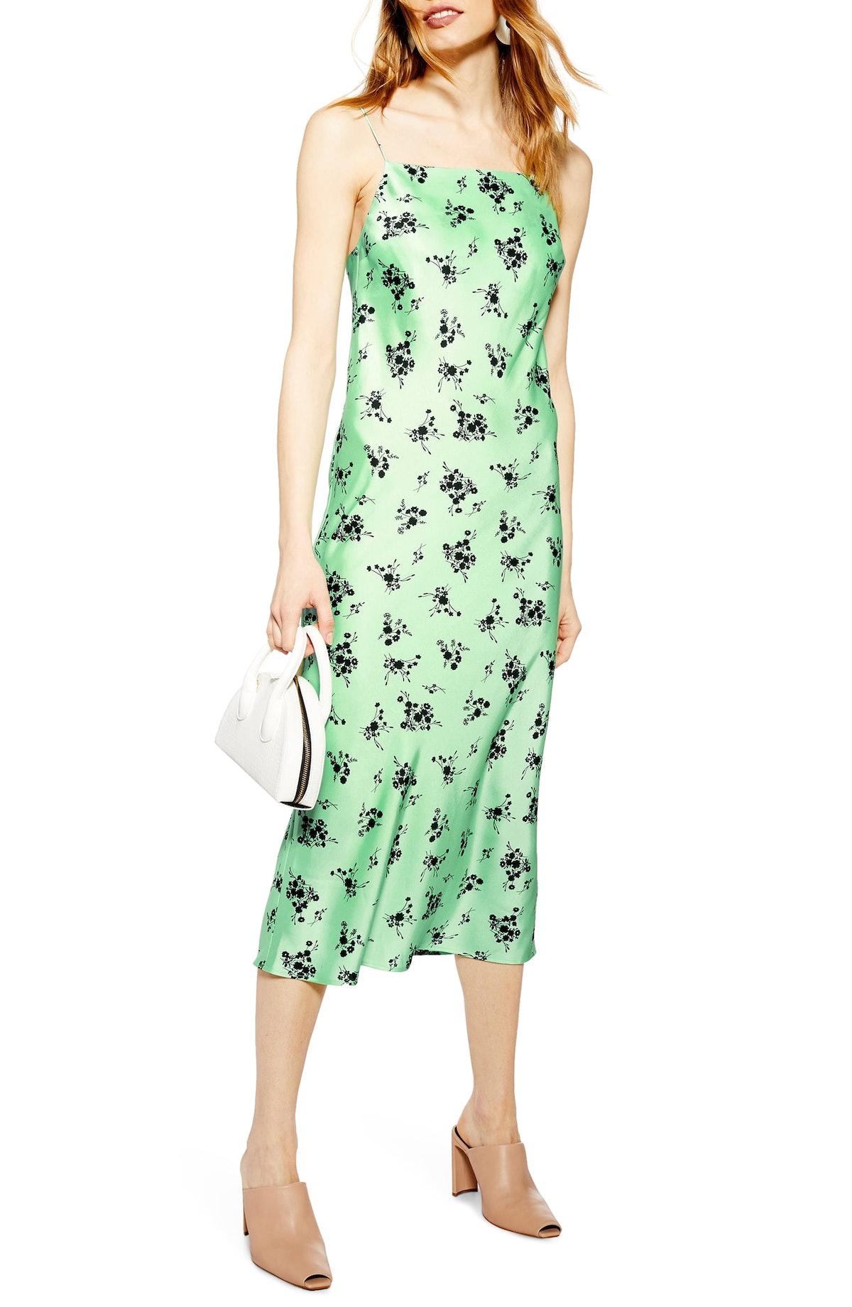 Topshop Apple Flower Satin Slip Dress