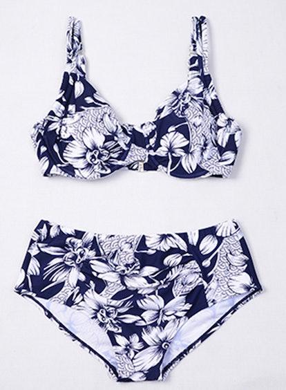 SAYFUT Women's Plus Size Swimwear High Waist Bandage Bikini Sets Retro