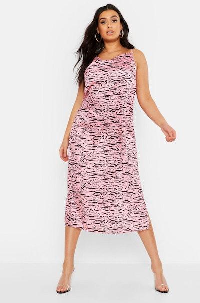 Plus Tiger Print Satin Cowl Slip Dress