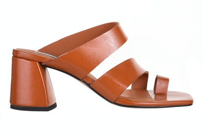 REYA Vegan Brown High Toe Loop Heels