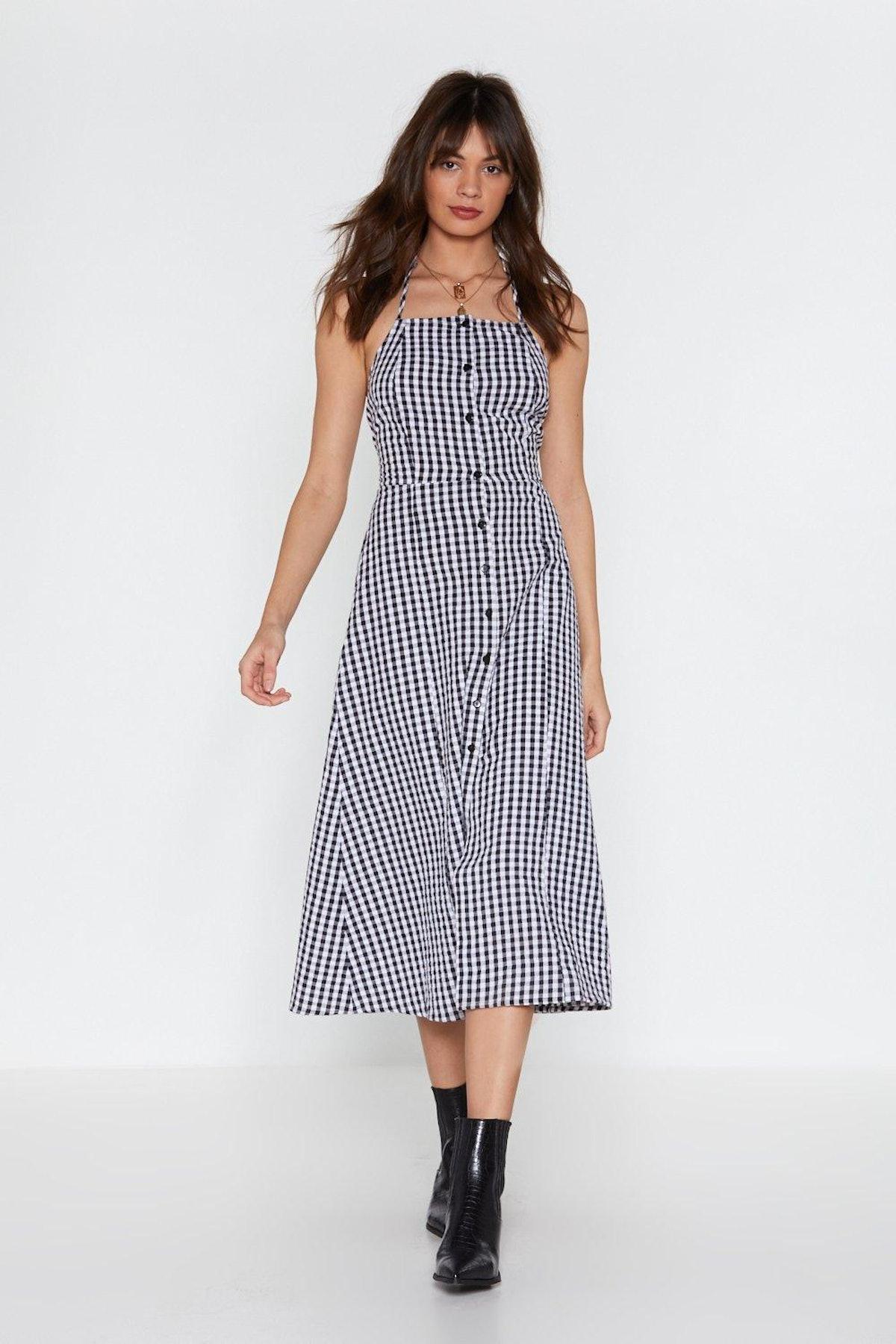 Hang in Square Gingham Halter Dress